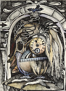 Steampunk Drawings - The Blue Cuckoo by Daniela Yordanova