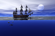Ship Digital Art - The blue deep by Claude McCoy