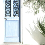 Wrought Iron Framed Prints - The Blue Door Framed Print by Holly Kempe