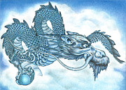 Korean Drawings Framed Prints - The Blue Dragon Framed Print by Troy Levesque
