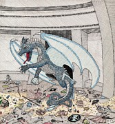 Den Drawings - The Blue Dragons Den by Calvert Koerber