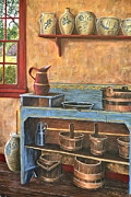Pottery Pitcher Painting Prints - The Blue Dry Sink Print by Dave Hasler