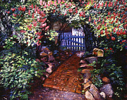Blooming Trees Prints - The Blue Garden Gate Print by David Lloyd Glover