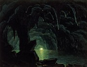 Dark Blue Green Posters - The Blue Grotto Poster by Albert Bierstadt
