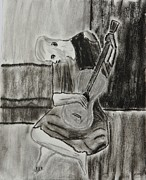 Black Artist Pastels Prints - The Blue Guitarist Print by Sean Mitchell