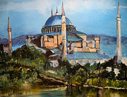 Istanbul Painting Posters - the Blue Mosque Poster by Arlen Avernian Thorensen
