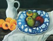 Peaches Painting Prints - The Blue Plate Print by Carol Sweetwood