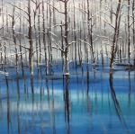 Haze Drawings Framed Prints - The Blue Pond Framed Print by Jessica Newell
