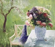 Garden Scene Paintings - The Blue Silk Scarf  by Lizzy Forrester