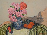 Red Geraniums Prints - The blue vase Print by Monica Caballero