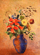 Flower Still Life Posters - The Blue Vase Poster by Odilon Redon