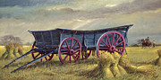 Farming Painting Prints - The Blue Wagon Print by Dudley Pout