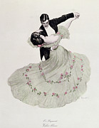 Dancing Drawings Posters - The Blue Waltz Poster by Ferdinand von Reznicek