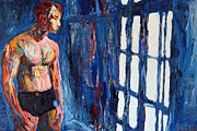 Gays Paintings - The blue window 2563 by Lars  Deike