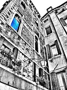 Old Mills Photos - The Blue Window in Venice - Italy by Marianna Mills