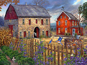 Kinkade Painting Posters - The Bluebirds Song Poster by Chuck Pinson