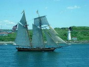 Fireboat Photographs Posters - The Bluenose Sails Past McNabs Island Poster by John Malone