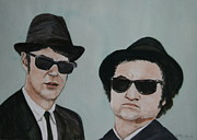 Saturday Night Live Paintings - The Blues Brothers by Betty-Anne McDonald