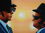 Songwriter  Paintings - The Blues Brothers by Paul  Meijering