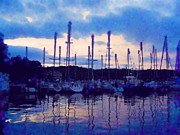 Boats On Water Posters - The Blues of Saugatuck  Poster by Diane  Miller
