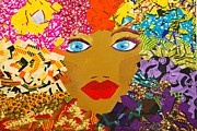 Textile Collage Posters - The Bluest Eyes Poster by Apanaki Temitayo M