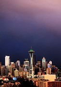 Seattle Skyline Art - The Bluest Skies by Benjamin Yeager