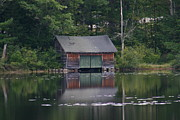 Mt Chocorua Posters - The Boat House on Mt Chocorua Lake Poster by Denyse Duhaime