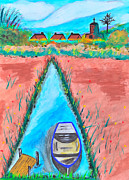 Crater Lake Paintings - The Boat in the River with Rural Life. by Kanthima Chinanurak