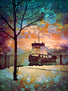 Fantasty Posters - The Boat in Winter Poster by Tara Turner