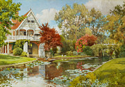 Punting Framed Prints - The Boathouse Framed Print by Alfred Parsons