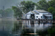Rural Posters - The Boathouse Poster by Bill  Wakeley