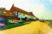 Norfolk; Prints - The Boathouse Burnham Overy Staithe Print by Chris Thaxter