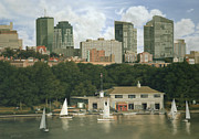 Charles River Paintings - The Boathouse - Charles River Boston by OMalley Keyes
