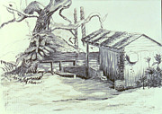 Dock Drawings Originals - The Boathouse by Herschel Pollard