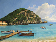 Beach Scenery Painting Prints - The Boats of Paleokastritsa Print by Kiril Stanchev
