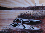 Boats Pastels Prints - The Boats Print by Svetlana Ivanova