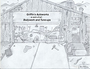 Old Barn Drawing Drawings - The Body Shop That Was  by Gerald Griffin