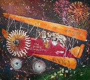 Biplane Paintings - The Bone Stormers Dia de los Muertos by Carol Losinski Naylor