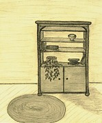 Living Room Drawings Prints - The Bookcase Print by Catherine Kirby