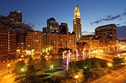 Custom House Tower Photos - The Boston Rose F. Kennedy Greenway with Light Blades  by Juergen Roth