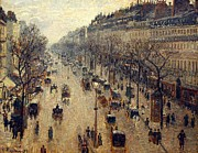 Pissarro Prints - The Boulevard Montmartre on a winter morning Print by Camille Pissarro