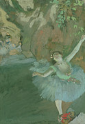 Green Dress Framed Prints - The Bow of the Star Framed Print by Edgar Degas