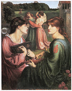 Fine Art  Of Women Painting Prints - The Bower Meadow Print by Dante Gabriel Rossetti