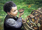 Eugene Maksim Metal Prints - The boy in the woods Metal Print by Eugene Maksim