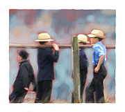Amish Digital Art Prints - The Boys Print by Bob Salo