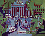 Berlin Germany Painting Posters - The Brandenburg Gate Berlin Poster by Ernst Ludwig Kirchner