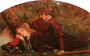 Couple In Love Paintings - The Brave Geraint by Arthur Hughes