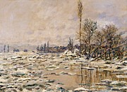 Snowfall Paintings - The Break-up of the Ice by Claude Monet
