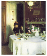 Singer Painting Framed Prints - The Breakfast Table Framed Print by John Singer Sargent