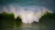 Blue Green Wave Framed Prints - The breaking of a wave ... Framed Print by Gwyn Newcombe